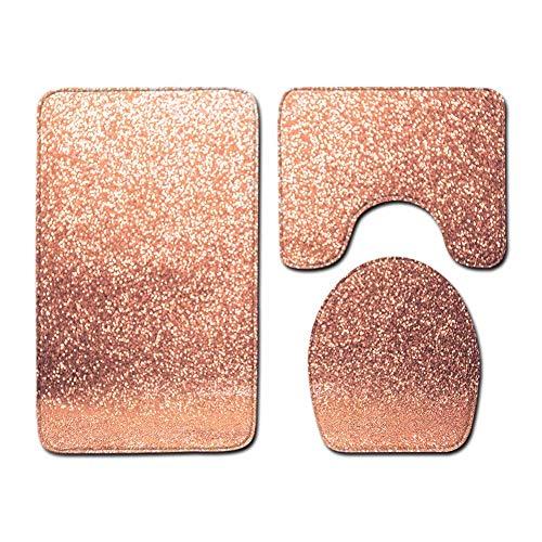 ETOPARS Luxus Funkeln Muster Badteppich Set 3-teilige rutschfeste Badezimmermatten, Toilettendeckelabdeckung, U-förmiger Kontur Teppich Teppich Weiches Badezimmerzubehör, Typ 07