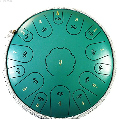 YUEXIN Steel Tongue Drum, Tambor De Sanación 14 Pulgadas 15 Tonos Instrumento De Tambor Colgante, Percusión Tambor De La Lengua para El Hogar Yoga Meditación Práctica Musical