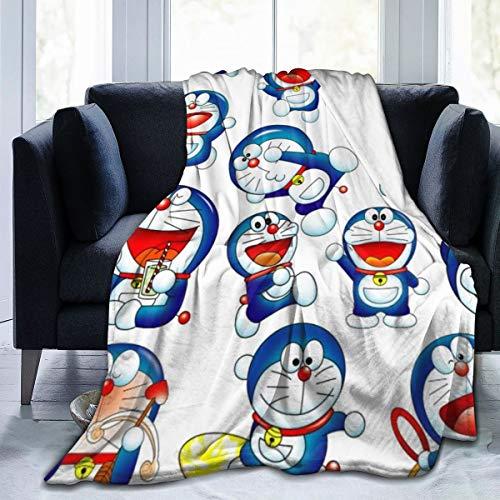 FASHIONDIY Doraemon Coperta oversize calda per adulti super morbida con morbida flanella anti-pelucchi per adulti e bambini stampa 3D, Nero , 80'x60'
