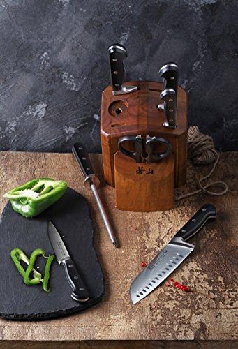 Cangshan TV2 Series 1023039 Swedish Sandvik 14C28N Steel Forged 8-Piece Knife Block Set, Acacia