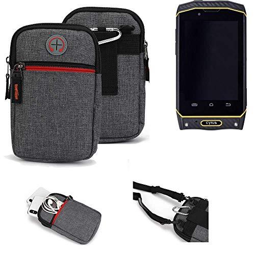 K-S-Trade® Gürtel-Tasche Für Cyrus CS 19 Handy-Tasche Holster Schutz-hülle Grau Zusatzfächer 1x