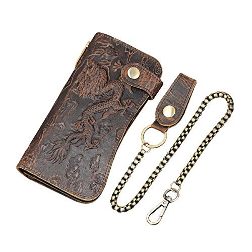 Echtes Leder Lange Brieftasche mit Reißverschluss Tasche Vintage Bifold Scheckheft Geldbörse (Brown 1)