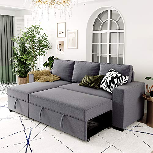 Merax 91.5 Inch Reversible Sectional Sofa Sleeper Sectional Couch Pull-Out Sofa Bed L-Shaped Sofa Couch with Storage Chaise for Living Room (91.5 Inch, Gray)