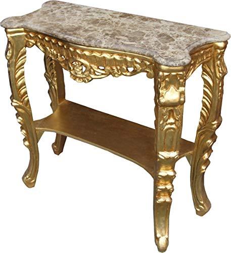 Casa Padrino Barock Konsolen Tisch Gold mit Marmorplatte - Konsole