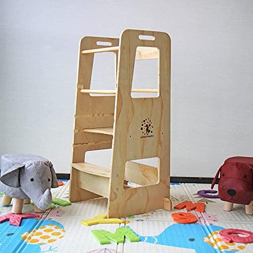 Kiddy dreams Torre Aprendizaje Montessori,Taburete de Madera de Altura Ajustable para niños,Cocina ayudante Ayuda para Bebe,leea Silla Montessori Plegable con Convertible, Asas y riel de Seguridad