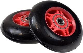 76 mm Black Wheel Red Hub Caster Wheels (Pair) for the Razor Crazy Cart, Ripstik, FlashRider 360, RipRider 360, & PowerRider 360