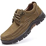 CAMEL CROWN Mens Loafer Slip-on Shoes Casual Leather Walking Shoes Slip Resistant Driving Sneakers for Business Work Khaki