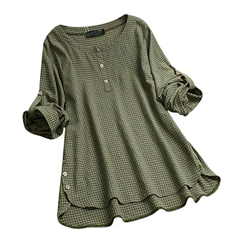 Fantastic Prices! Lovor Women's Cotton Linen Blouse Plaid Roll Up Long Sleeve Crewneck Buttons Flare...