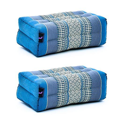 Leewadee Yoga Block 2er-Set Yogaklotz Pilates Yogakissen Meditationskissen Ökologisches Naturprodukt, 35x18x12 cm, Kapok, hellblau