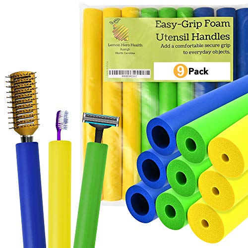 Foam Tubing Grips to Make Built Up Utensils Handles. (9 Pack Size Assortment + 2 Extra Pen or Pencil Grips) - Create Your Own Built Up Handle Utensils and Adaptive Utensils for Arthritis