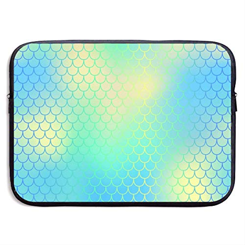 Yellow Blue Fish Scale with Colorful Mesh Laptop Sleeve Bag Case,Laptop Briefcase Soft Carring Tablet Travel Case,13 inch