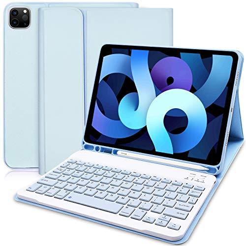Funda con Teclado para iPad Air 4.ª generación (2020, 10,9) - Funda iPad con Ranura para Lápiz y Teclado Bluetooth Inalámbrico Desmontable para iPad Air 10,9 2020/iPad Pro 11 2020/2018 (Azul Cielo)