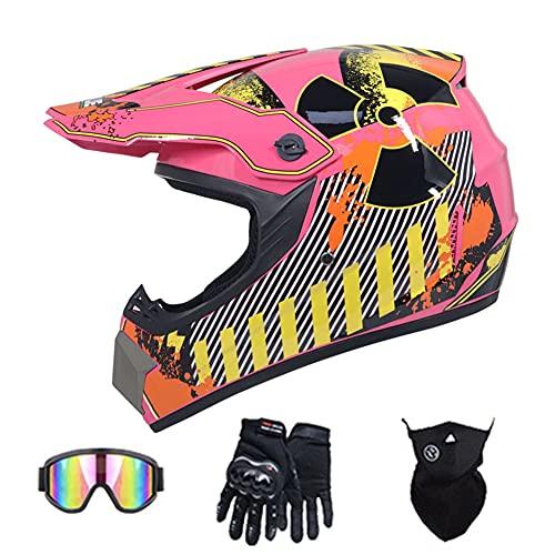 Motocross Full Face Helmet Adult DOT Certified motorbike Backflip helmet Dirt Bikes helmets DH motorcycle helmet for ATV MX MTB Rally Off-road Pit bike (Pink car print),57~58cm L