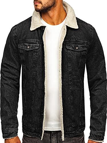 BOLF Herren Jeansjacke Übergangsjacke Trucker Jacke Sherpa Denim Jacke Warm Gefüttert Jeans Denim Vintage Classic Street Style 1159 Schwarz XL [4D4]