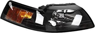 Left & Right Headlights Headlamps Assembly Black Housing Amber Reflector Fit For Ford Mustang V6 GT SVT Cobra 1999-2004 YR3Z13008AA YR3Z13008BA (pair :Driver + Passenger Side)