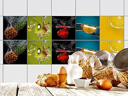 GRAZDesign Fliesenaufkleber Küche 15x15 cm buntes Motiv - Fliesenfolie Set Früchte im Wasser - Fliesen überkleben glänzende Folie - Fliesenspiegel Küche Zitrus / 15x15cm / 770347_15x15_FS10st