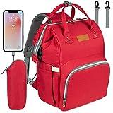 NEVEQ Baby Wickelrucksack, Babytasche für Reise, Wickeltasche Große Kapazität, Multifach Reise Rucksack Wasserdicht Fächer Babyflaschehälter (Rot)