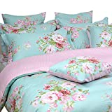 FADFAY Shabby Floral Duvet Cover Set Pink Grid Cotton Farmhouse Bedding with...