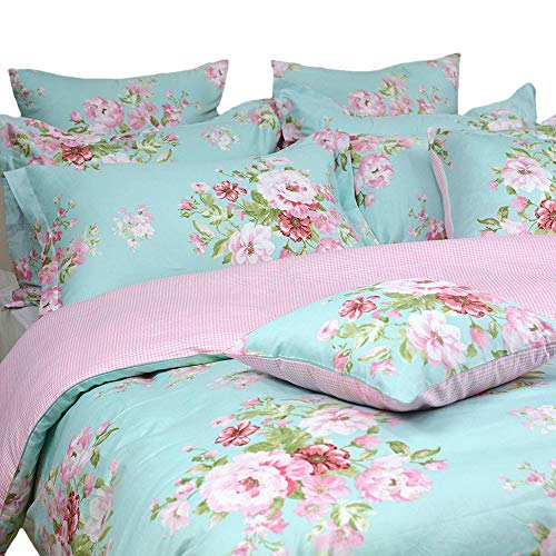 FADFAY Shabby Floral Duvet Cover Set Pink Grid Cotton Farmhouse Bedding with Hidden Zipper Closure 3 Pieces, 1duvet Cover & 2pillowcases,Queen Size