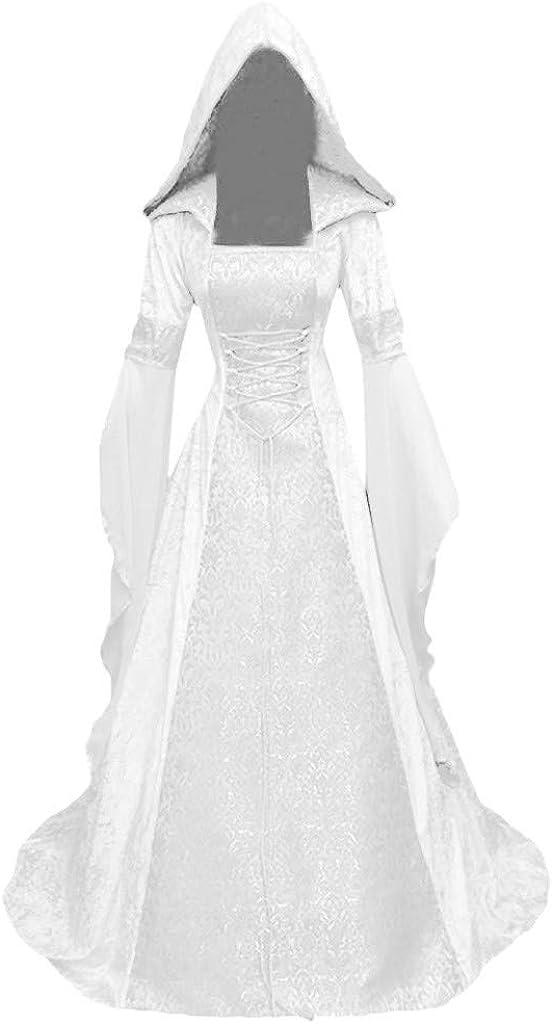 SHOPESSA White Dress for Women Casual Fashion Long Sleeve Hooded Dress Medieval Floor Length Halloween Cosplay Dress