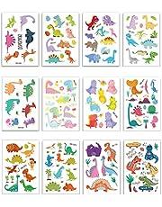 12 قطعة أطفال الوشم ملصق ديناصور الوشم معجون لطيف آمن الشكل للأطفال