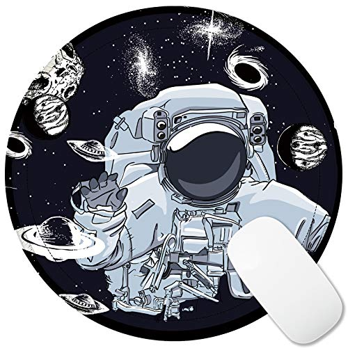 VESMATITY Round Mouse Pad Non-Slip Rubber Base Mousepad Custom Design Cute Mouse Pads with Stitched Edge for Computer Laptop Office Travel Working Gaming (8.7 inch - Planet Astronaut)