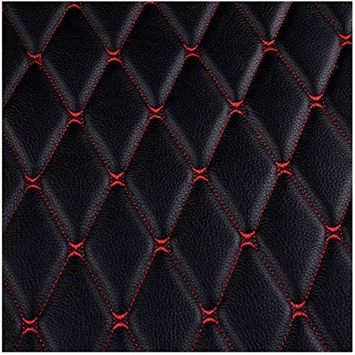 WWWANG Fondo de tela de cuero bordado de cuero sintético Materiales de decoración de pared Materiales de asiento de coche cubierta de tapicería de vehículos de tela - línea roja negra Equipo de protec