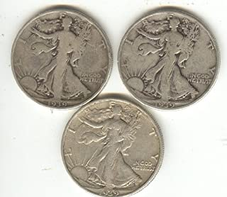3 WALKING LIBERTY HALF DOLLAR SILVER COINS 1939-P, 1939-D, 1939-S ALL THREE MINT MARKS FOR THAT YEAR,