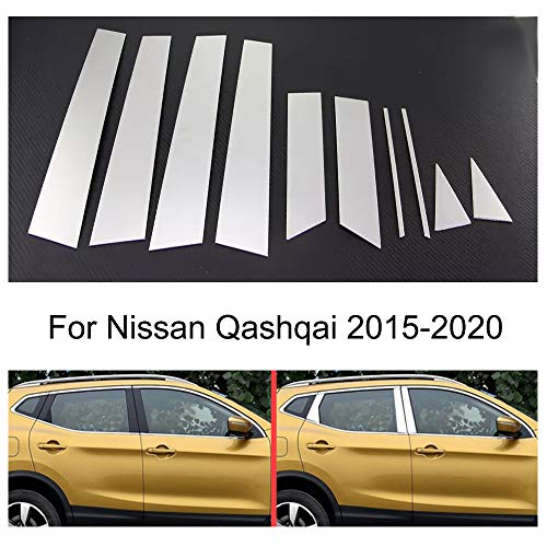 Momoap / Chrome Car Window Exterior Stainless Steel Pillar Posts Trim Strip for Nissan Qashqai 2015-2020