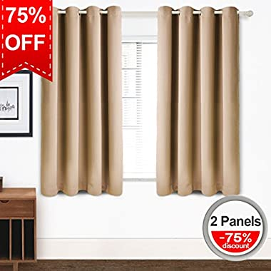 Blackout Curtains Thermal Insulated Grommet Light Blocking Draperies Room Darkening Panels for Living Room, Bedroom, Nursery by TEKAMON (W52  X L63 , 2 Panels, Warm Camel)