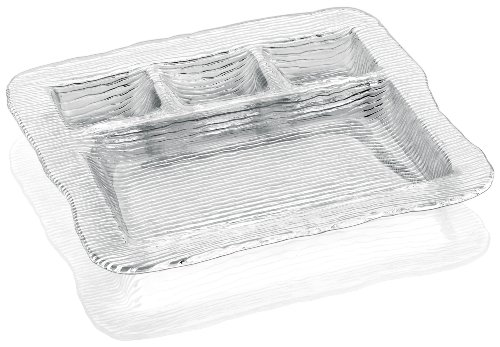 IVV Glassware All In One 4-Section Multipurpose Serving Platter, 12-1/2 by 11-Inch, Clear