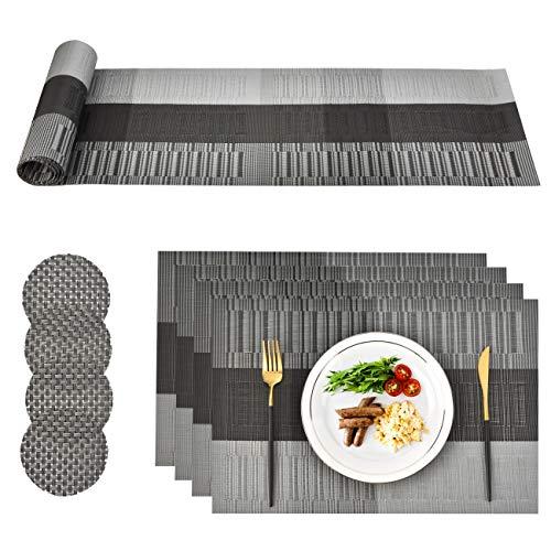 CCKOLE Sets de Table PVC Lavable, Ensemble de Tapis Table à Manger indéchirable, 4 x Sets de Table 4 x sous-Verres et 1 x Chemin de Table(Gris Noir)