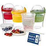 CRYSTALIA Breakfast On the Go Cups, Take and Go Yogurt Cup with Topping Cereal or Oatmeal Container, Colorful Set of 4