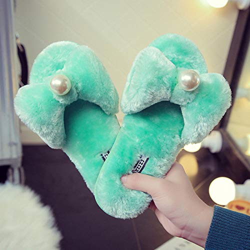 MDCGL Zapatillas De Animales,Zapatillas de casa de Felpa con Perlas para niñas,Zapatos Antideslizantes Suaves de Color sólido para Interiores y Exteriores para Mujer Verde EU37-38