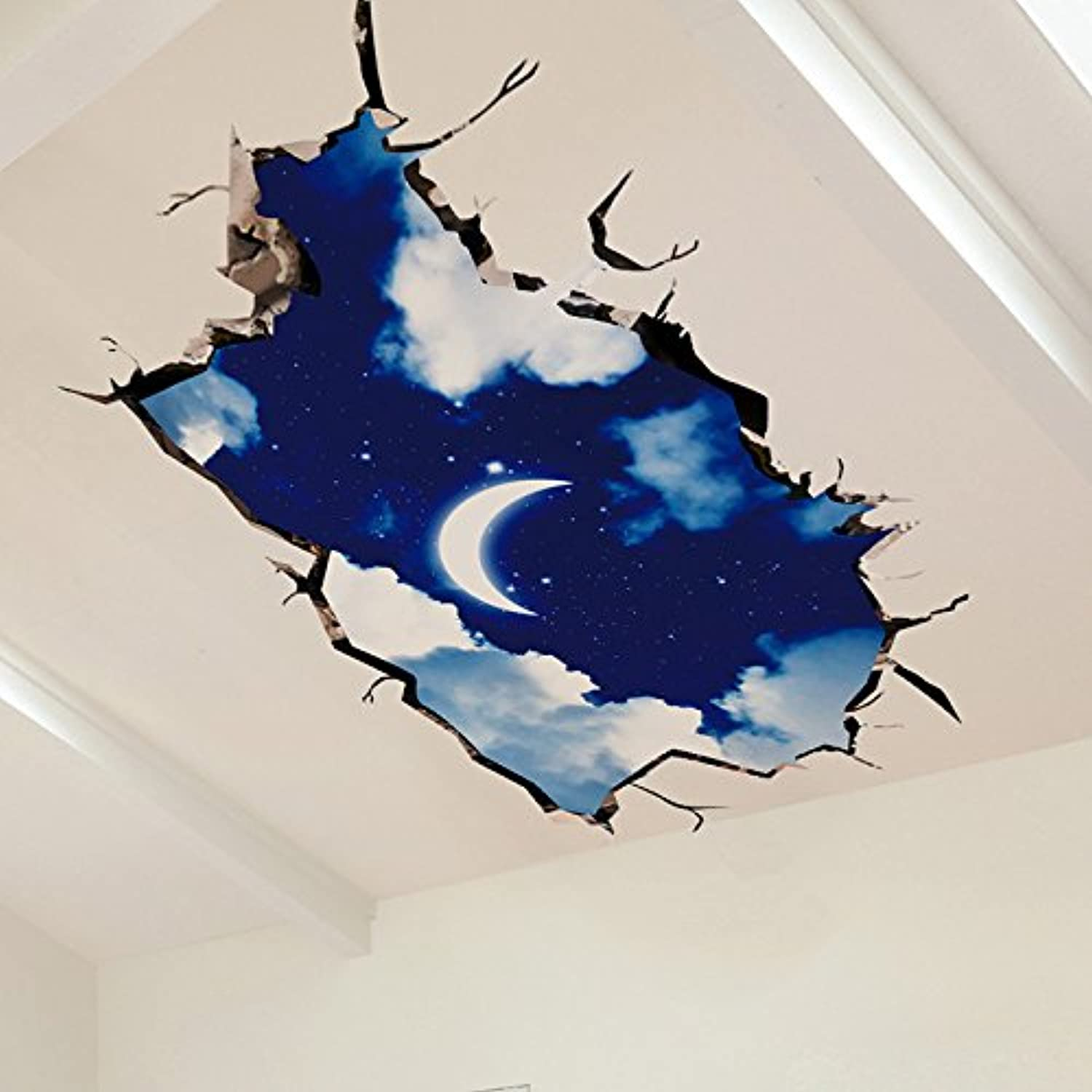 Znzbzt Creative 3D Simulation Space Moon Sky Decorative Ceiling Wall Sticker on Living Room Floor.
