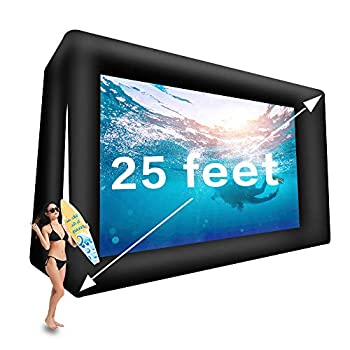 Fitnessandfun 25ft Upgrade Inflatable Movie Screen Outdoor Cinema Incl Blower - Seamless Front and Rear Portable Blowup Theater Projection Screen for Churches Grand Parties Backyard Pool Fun