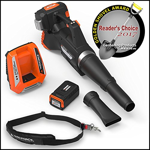 YARD FORCE Lithium-Ion Blower with Push-Button Speed Control - Complete with Battery and Fast Charger Included