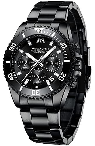 MEGALITH Reloj Hombre Militar Cronógrafo Acero Inoxidable Relojes Pulsera Hombre Negro Analogico Luminosa Fecha