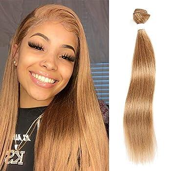 X-tress Straight Brazilian Remy Hair Honey Blone Bundle Color 27 Hair Weave Human Hair Extension 100% Virgin Human Hair Weave  8 Inch