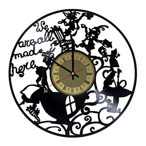 We're All mad here Vinyl Wall Clock Alice in Wonderland Unique Gifts Living Room Home Decor