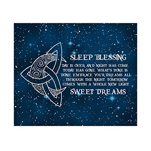 """""""Sleep Blessing-Sweet Dreams' Poetic Wall Art Sign -10x8' Celtic Starry Night Print with Crescent Moon Image-Ready to Frame. Inspirational Irish Sign for Home-Kids Bedroom-Nursery Decor. Great Gift!"""