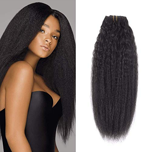 NOTICEME Kinky Yaki Straight Clip in Human Hair Extensions for Women 12inch Double Weft Real Remy Hair Full Head Natural Color 10pcs 120g/4.23oz with 22Clips