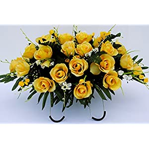 Yellow Rose with White Accent Flowers Cemetery Saddle Arrangement for Headstone Decoration