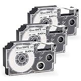 Invoker kompatible Schriftband als Ersatz für Casio XR-12WE XR-12WE1 Etikettenband 12 mm x 8 m,für Casio KL-60 70e 100 100e 120 200 200E 300 750 780 820 2000 7400 hd1 Etikettendruckmaschinen(3er-Pack)