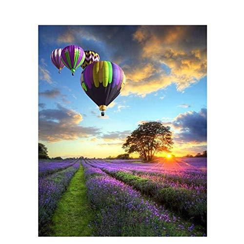 QAZEDC digitaal schilderen, knutselen, zonder lijst, romantisch, ballon, landschap, knutselen, schilderen op schilderen, moderne muur, kunst, handbeschilderd, olieverfschilderij, voor decoratie