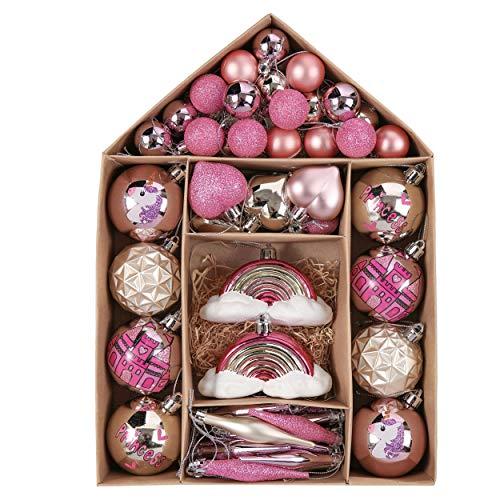 Valery Madelyn Palle di Natale 70 Pezzi di Palline di Natale, 3-10 cm Ricoperte di Zucchero Rosa e Oro Infrangibile Ornamenti di Palla di Natale Decorazione per la Decorazione Dell'Albero di Natale