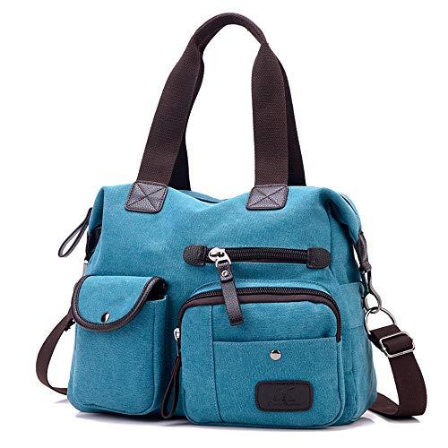 MINGZE ad alta capacità multi-tasche Casuale tela di viaggio di nuovo arrivo borsa messenger (blu)