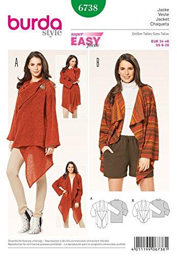 Burda Sewing Pattern 6738 Misses Waterfall Coat & Jacket Size 8-20 Euro 34-46