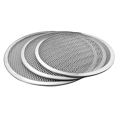 Aluminio pizza redonda Bandeja de horno antiadherente malla placa molde for hornear bandeja for hornear Pizza Grill Herramienta de Hornos (Size : 12')