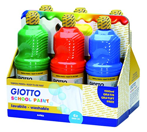 Giotto 530900 - Assortimento 6 Flaconi da 1 Litro Tempera Pronta Schoolpaint - Lavabile